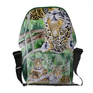 Jungle Jaguars Fine Art Watercolor Bag Courier Bags