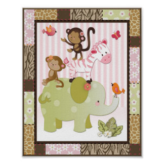 Jungle Jill Animals Baby Girl Nursery Art Poster