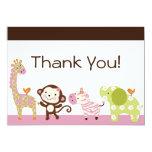 "Jungle Jill / Cute Animals Thank You Card 5"" X 7"" Invitation Card"