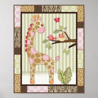 Jungle Jill Giraffe Baby Girl Nursery Art Poster