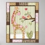 Jungle Jill Giraffe Baby Girl Nursery Art Print