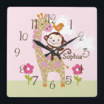 """Jungle Jill/Girl Animal Kid&#39;s BabyNursery Clock<br><div class=""""desc"""">Up for sale is this Personalized Jungle Jill/Girl Animal Nursery Clock. Complete your child&#39;s room with this adorable clock. You must customize clock before purchasing. You can also move around images to your liking.</div>"""