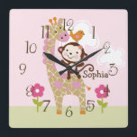 "Jungle Jill/Girl Animal Kid&#39;s BabyNursery Clock<br><div class=""desc"">Up for sale is this Personalized Jungle Jill/Girl Animal Nursery Clock. Complete your child&#39;s room with this adorable clock. You must customize clock before purchasing. You can also move around images to your liking.</div>"