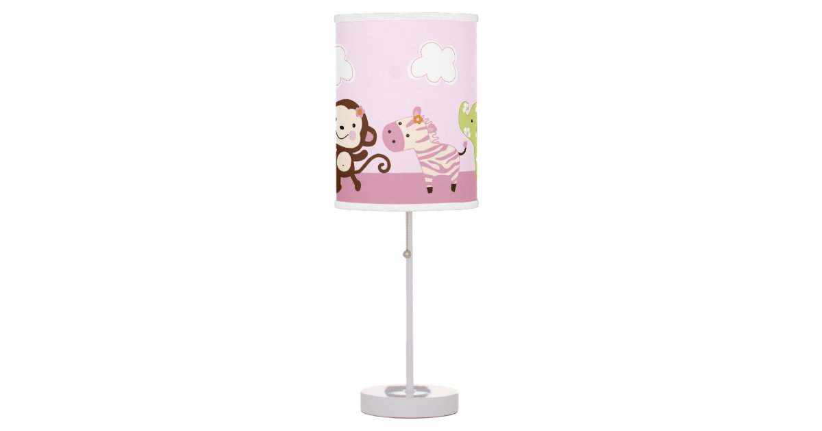 jungle jill girl animals baby nursery lamp zazzle. Black Bedroom Furniture Sets. Home Design Ideas