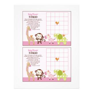 "Jungle Jill Girl Animals ""Baby Shower Bingo"" sheet 8.5"" X 11"" Flyer"