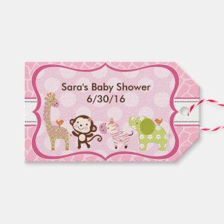 Jungle Jill Girl Animals Baby Shower Gift Tags