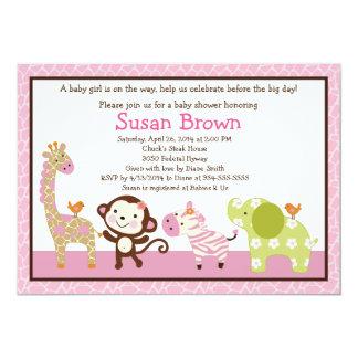 Jungle Jill /Girl Animals Baby Shower Invitation