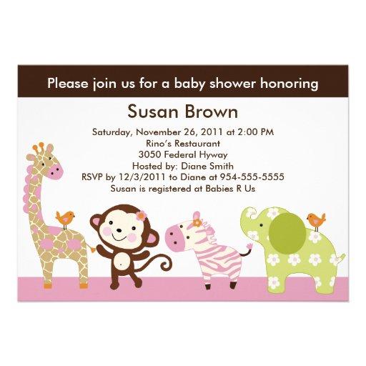 jungle jill girl animals baby shower invitation 5 x 7 invitation