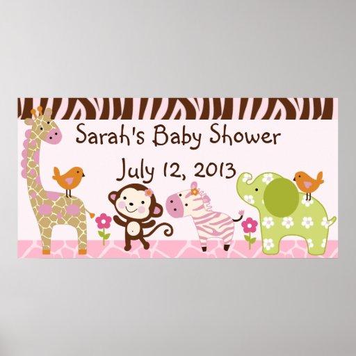 Jungle Jill/Girl Animals Baby Shower Poster/Banner