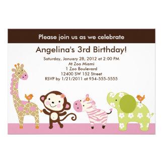 Jungle Jill /Girl Animals Birthday Invitation