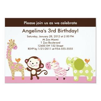 "Jungle Jill /Girl Animals Birthday Invitation 5"" X 7"" Invitation Card"