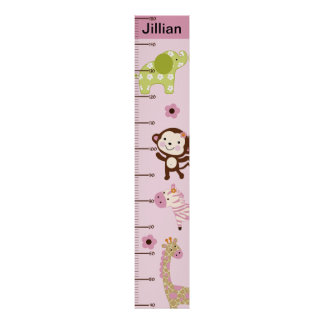 Jungle Jill/Girl Animals Centimeters Growth Chart Poster