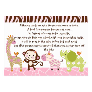 Jungle Jill/Girl Animals Favor/Tags Large Business Cards (Pack Of 100)