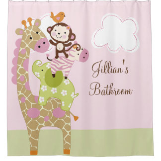 Jungle Jill Girl Animals Kids Shower Curtain