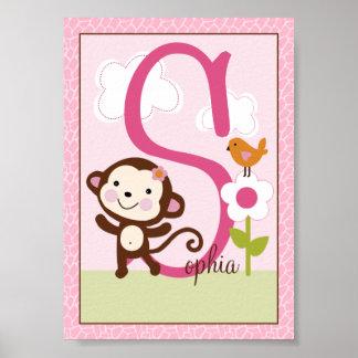 Jungle Jill Girl Animals Letter Initial Art Print