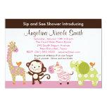 "Jungle Jill / Girl Animals Sip & See Invitation 5"" X 7"" Invitation Card"