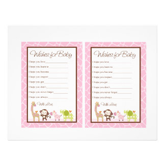 """Jungle Jill Girl Animals """"Wishes for Baby"""" notes Flyer"""