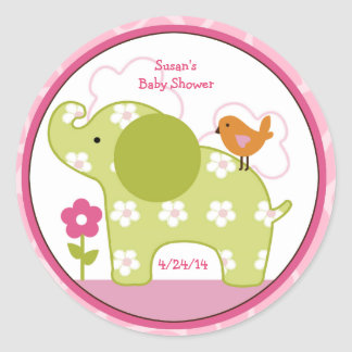 Jungle Jill/Girl Elephant/Stickers/Cupcake Toppers Classic Round Sticker