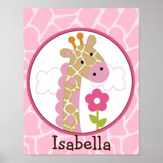 Jungle Jill /Girl Giraffe Personalized Art Poster