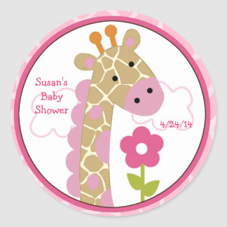 Jungle Jill/Girl Giraffe/Stickers/Cupcake Toppers Classic Round Sticker
