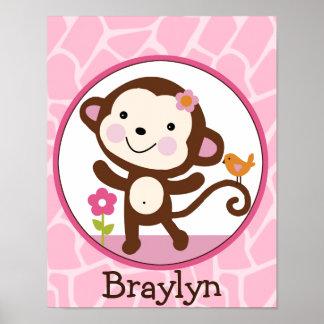Jungle Jill /Girl Monkey Personalized Art Poster
