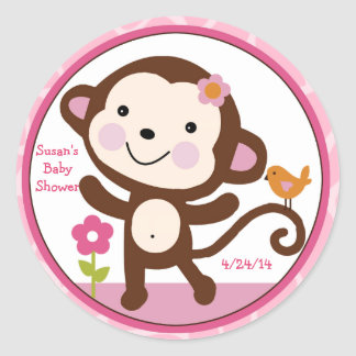 Jungle Jill/Girl Monkey/Stickers/Cupcake Toppers Classic Round Sticker