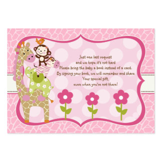 Jungle Jill Girl Stacked Animals Favor Book Tag Large Business Cards (Pack Of 100)