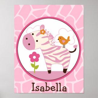 Jungle Jill /Girl Zebra Personalized Art Poster