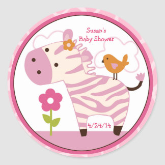 Jungle Jill/Girl Zebra/Stickers/Cupcake Toppers Classic Round Sticker