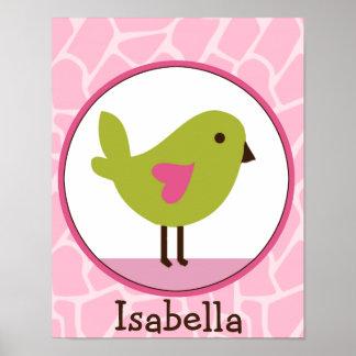 Jungle Jill /Green Bird Personalized Art Poster
