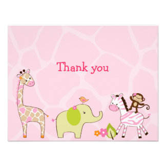 Jungle Jill Jungle Animal Thank You Note Cards Announcement