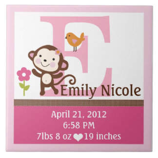 Jungle Jill Monkey Letter Name Birth Info Tile