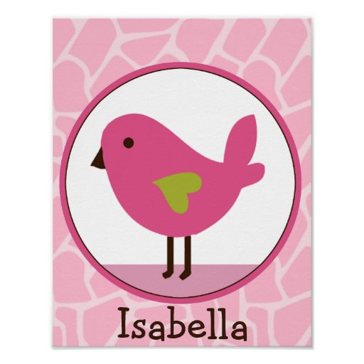 Jungle Jill /Pink Bird Personalized Art Poster