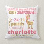 Jungle Jill Pink Giraffe Birth Announcement Throw Pillow