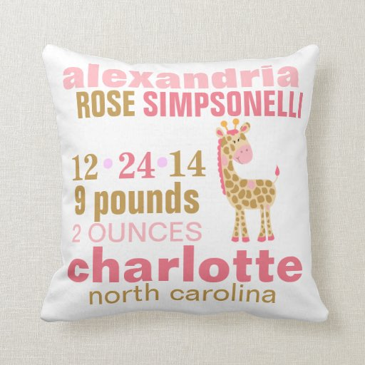 Jungle Jill Pink Giraffe Birth Announcement Throw Pillow