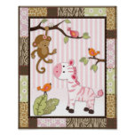 Jungle Jill Zebra Baby Girl Nursery Poster