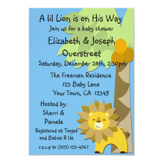 Jungle King Lion Blue Sky Baby Shower Zoo Safari 5x7 Paper Invitation Card