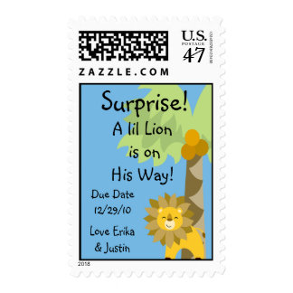 Jungle King Lion Blue Sky Surprise Baby Zoo Safari Postage Stamp