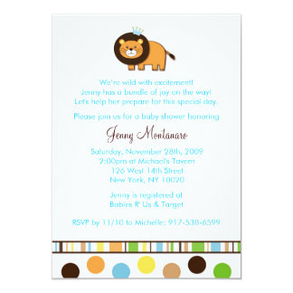 Jungle King Lion Custom Baby Shower Invitations