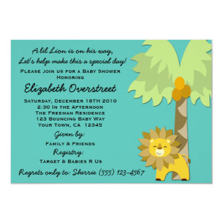 Jungle King Lion Teal Boy Baby Shower Zoo Safari 5x7 Paper Invitation Card
