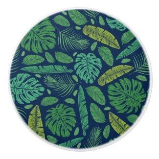 Jungle Leaves on Midnight Blue Art Ceramic Knob
