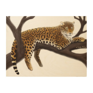 Jungle Leopard at Rest Wood Wall Art