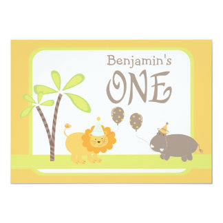 Jungle Lion and Hippo First Birthday Party 5x7 Paper Invitation Card