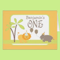 Jungle Lion and Hippo Happy 1st Birthday Card