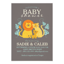 Jungle Lion Baby Shower Invitation