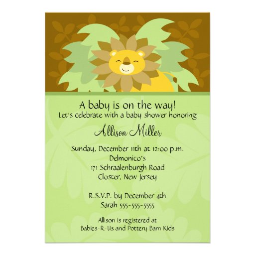 Jungle Lion Neutral Baby Shower Invitation