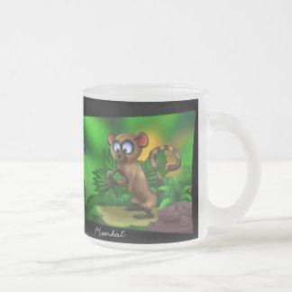 Jungle Meerkat Frosted Glass Coffee Mug