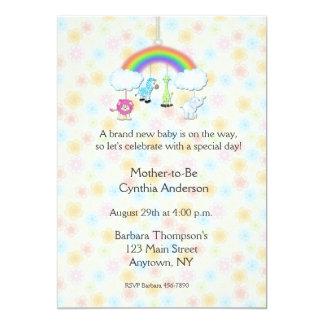 Jungle Mobile Floral Baby Shower Invitation