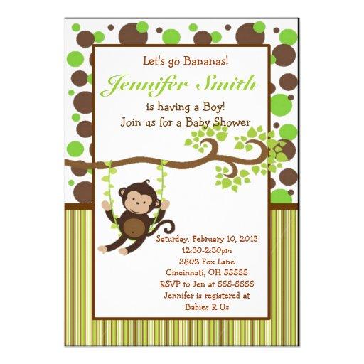 jungle monkey baby shower invitation 5 x 7 invitation card zazzle