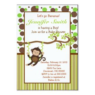 "Jungle Monkey Baby Shower Invitation 5"" X 7"" Invitation Card"